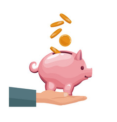 coin depositing in a money piggy bank on human vector image