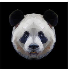 Panda head polygon portrait isolated vector