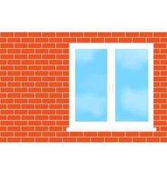 Window into a brick wall vector