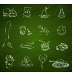 Toys chalkboard sketch set vector