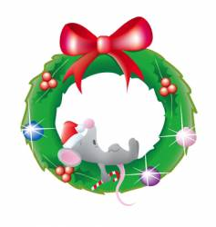 Mouse sleeping in a wreath vector
