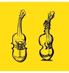 Shoes in styling with musical instruments vector