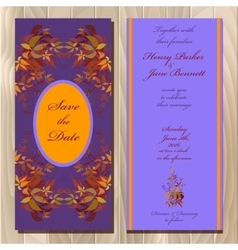 Autumn wild grape wedding invitation card vector
