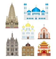 Cathedrals and churches infographic temple vector