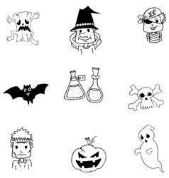 Ghost halloween in doodle vector image