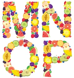 Alphabet from fruit MNOP vector image