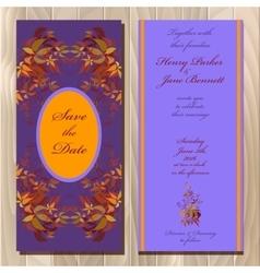 Autumn wild grape wedding invitation card vector