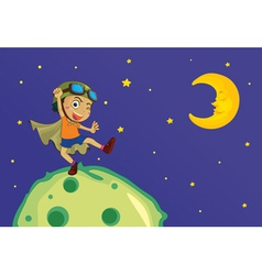 Boy on the moon vector image vector image