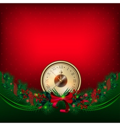 bright christmas background with clock and garland vector image vector image