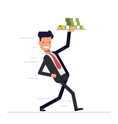 Businessman or manager promptly comes with a tray vector image vector image