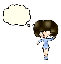 Cartoon waving girl with thought bubble vector