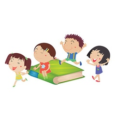 Children and giant green book vector image
