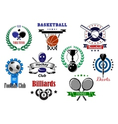 Competitive sport emblems set vector