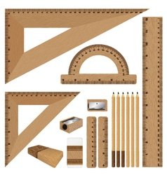 Drawing set Wooden ruler and pencil eraser with vector image