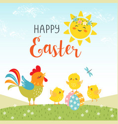 Easter design of cute happy chicks vector