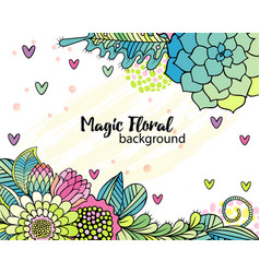 Flower background with hand drawn floral bouquets vector