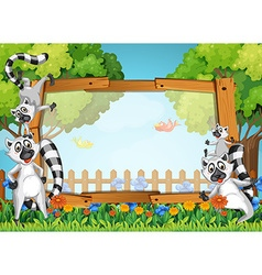 Frame design with lemur in the garden vector