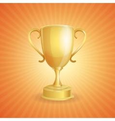 golden winner cup on light vector image vector image