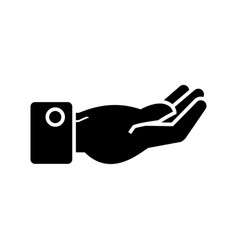 hand keep icon black sign on vector image vector image
