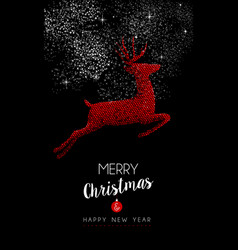 happy new year 2017 red reindeer vector image