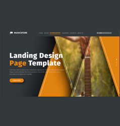 Header design is black and orange with triangles vector