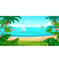 Holidays by the sea View of the islands and ship vector image vector image