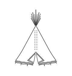 Icon or emblem of indian or tipi tent for outdoor vector