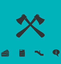 lumberjack axes crossed icon flat vector image