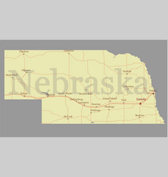 Nebraska state map with community assistance and vector