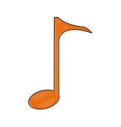 Orange quaver music note symbol icon vector