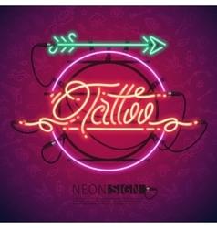 Retro neon tattoo sign with arrow vector