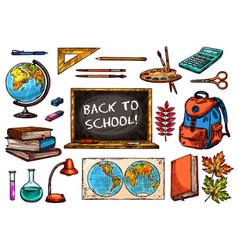 school and education supplies sketch icon set vector image