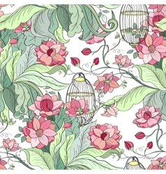 Seamless peony pattern vector image