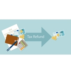 Tax refund money cash after calculation vector