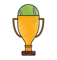 tennis trophy and ball champion competition sport vector image vector image