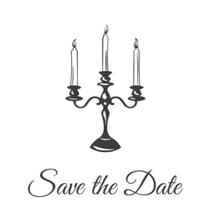 Three large candle in a candlestick save the date vector