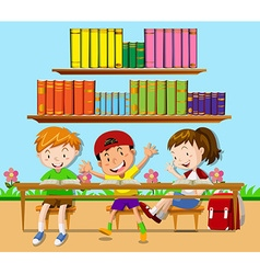 Three students leaning in classroom vector