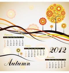 tree autumn calendar 2012 vector image