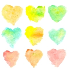 Watercolor heart shaped stains isolated on white vector