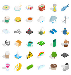 Winter food icons set isometric style vector