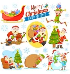 Merry christmas holiday design with santa calus vector