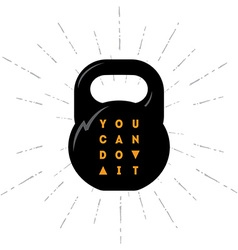 One black kettlebell on white background with vector