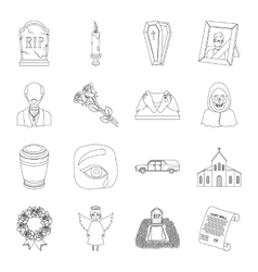 Funeral ceremony set icons in outline style big vector