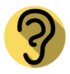 human ear sign  flat black icon with flat vector image