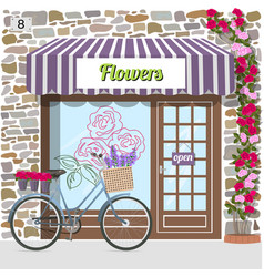 Flower shop building facade of stone vector
