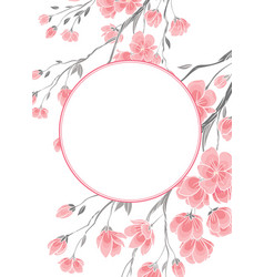 Frame with cherry sakura flowers template vector