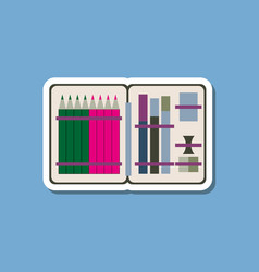 Paper sticker on stylish background pencil box vector