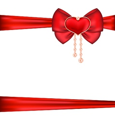 Red bow with heart and pearls for packing gift vector image