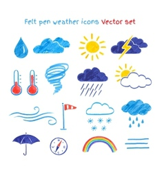 Child drawings of weather symbols vector