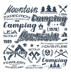 Camping typographic badges for t shirt vector
